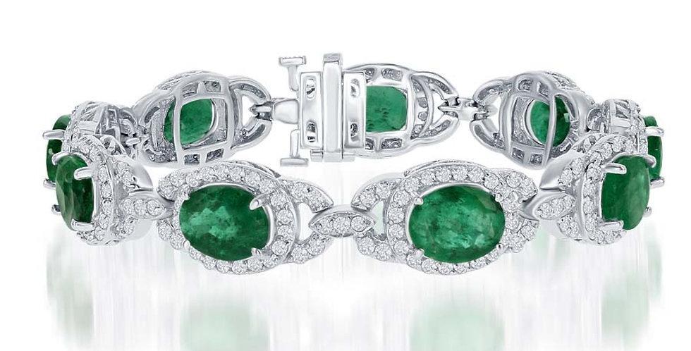 DFJ Oval Emerald & Diamond Bracelet
