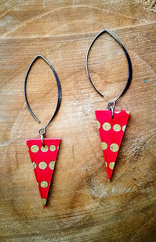 Boucles d'oreilles rouges en papier Thaïs