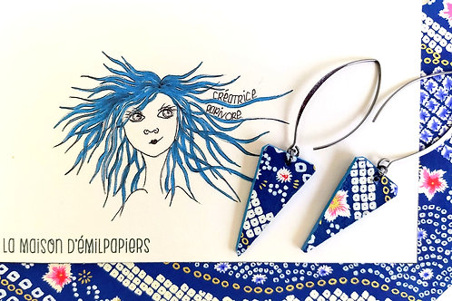 Boucles d'oreilles Thaïs bleues