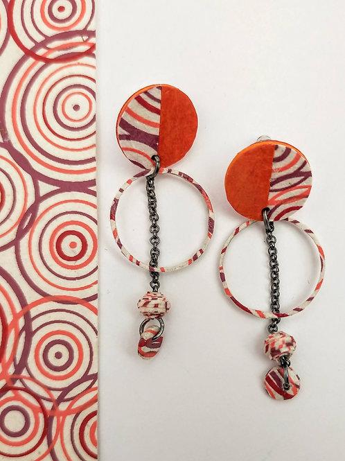 Boucles d'oreilles Obélia orange