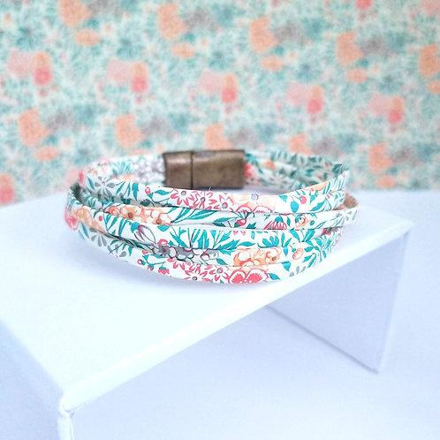 Bracelet Milla fleuri orange et vert
