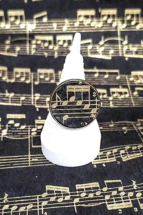 Bague carlota musicale dorée noire