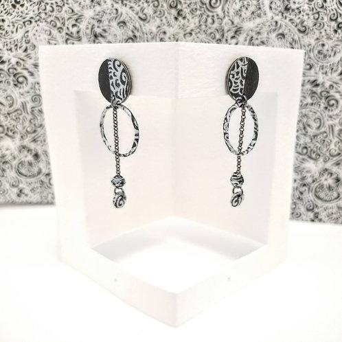 Boucles d'oreilles Obélia noir-argent