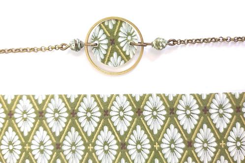 Bracelet Alzire vert et blanc