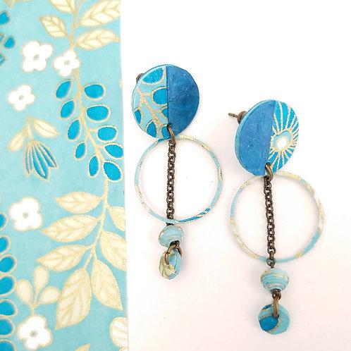 Boucles d'oreilles Obélia bleues