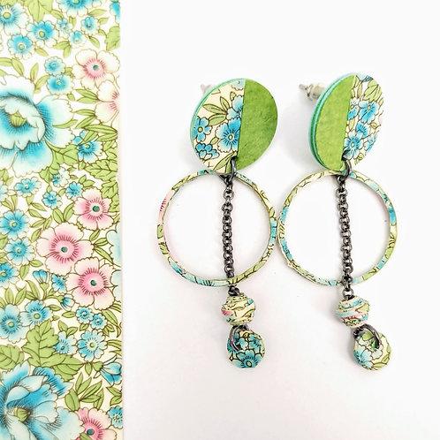 Boucles d'oreilles Obélia fleuries vert-bleu