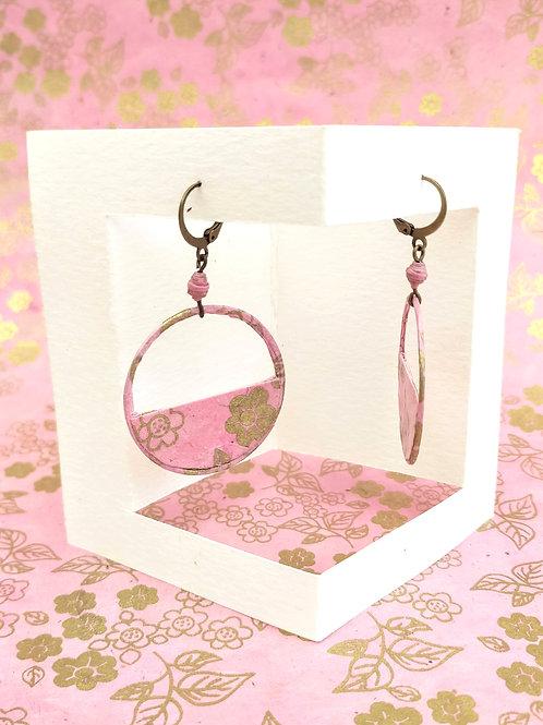 Boucles d'oreilles Séraphine roses et or