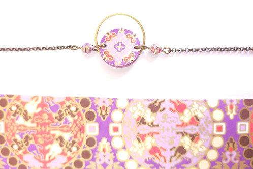 Bracelet Alzire mauve et or