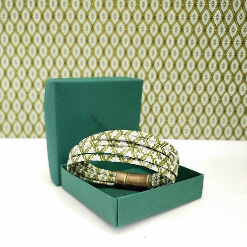 Bracelet Millavert kaki et blanc