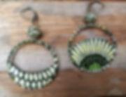 """Boucles d'oreilles """"Séraphine"""" en papier : anneaux partielement remplis, surmontés d'une perle roulée. Sur commande avec papier de votre choix. 3 tailles"""