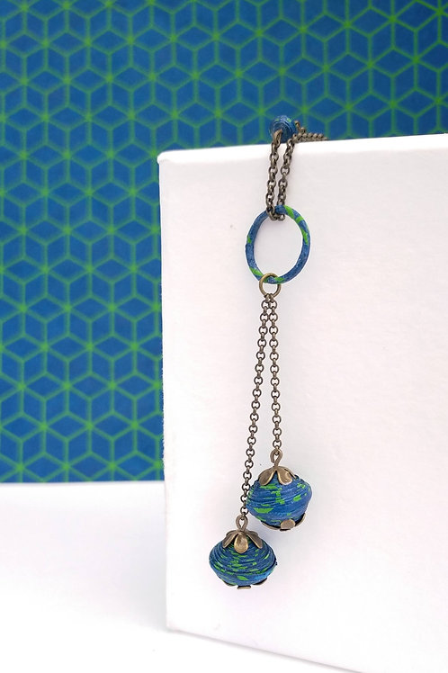 Collier sautoir Pétronille bleu et vert