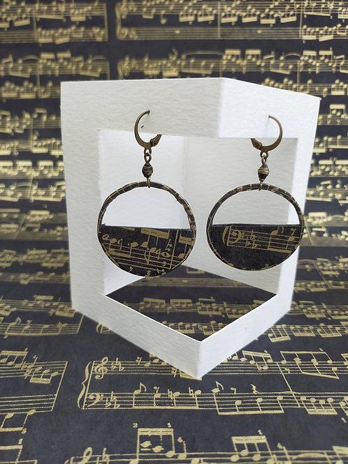 Boucles d'oreilles Séraphine musicales noires et or