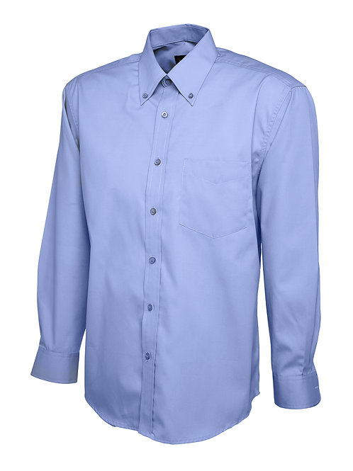 Uneek Clothing Mens Pinpoint Oxford Long Sleeve Shirt Mid Blue