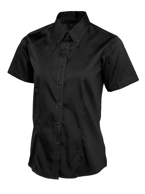 Uneek Ladies Pinpoint Oxford Short Sleeve Shirt Black