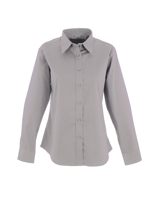 Uneek Clothing Ladies Pinpoint Oxford Long Sleeve Shirt Silver Grey