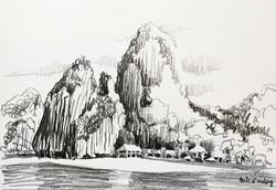 Baie d'Halong - crayon pierre noire