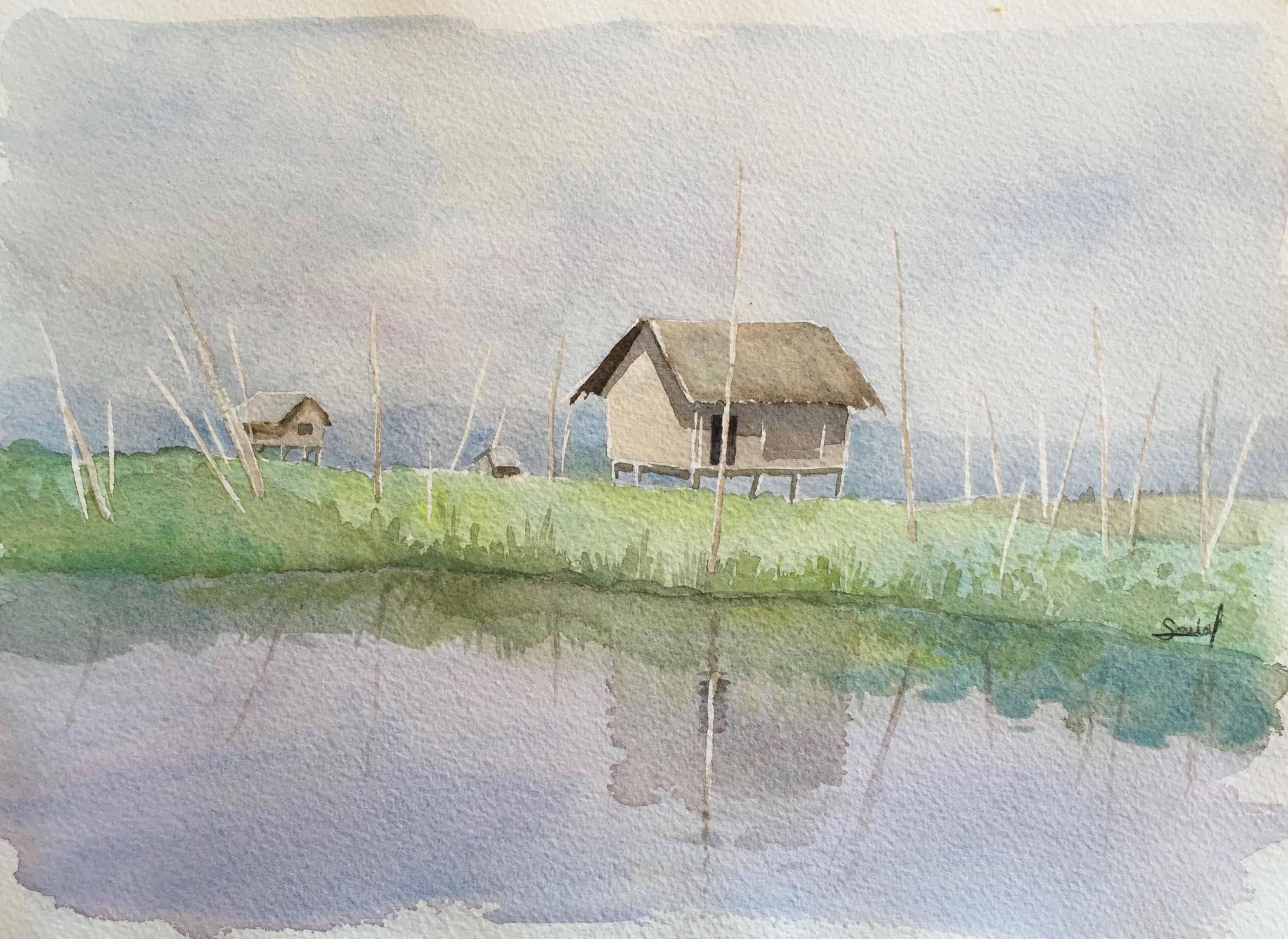 Cabane sur pilotis au Myanmar