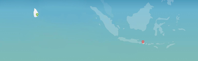 карта школа серфинга на Бали и Шри-Ланке