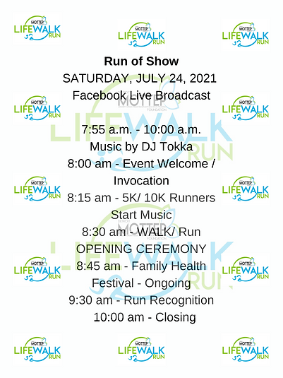EVENT Day Run of Show SCHEDULE SATURDAY, JULY 24, 2021 - EVENT DAY! Facebook Live Broadcas