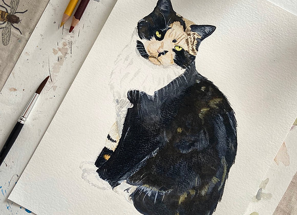 10x12 Pet Portrait with 12x16 Mount