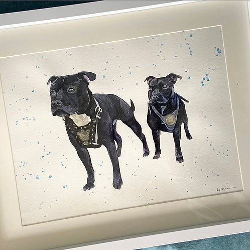 Two Pets Full Body 10x12 Pet Portrait with 12x16 Mount