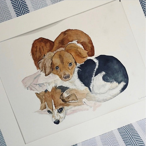 Two Pets Full Body 12x16 Pet Portrait with 16x20 Mount
