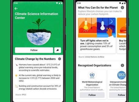 Facebook contro cambiamento clima lancia centro informazioni