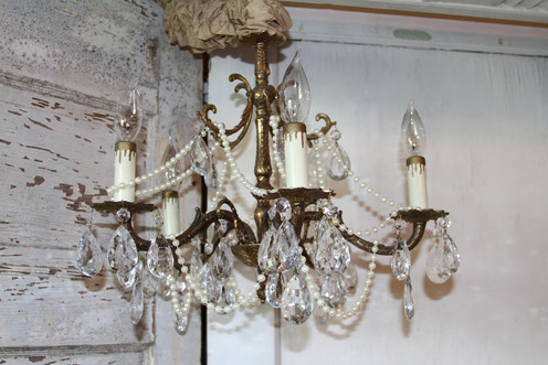 Gold Pearl & Crystal Chandelier