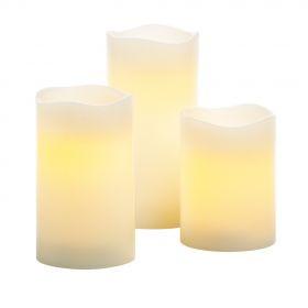 LED Pillar Candle Trio Set