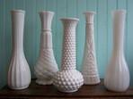 Assorted Milk Glass Bud Vases