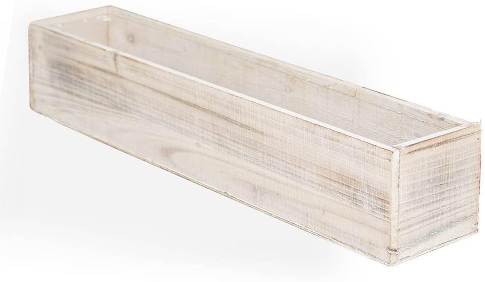 "12"" Rectangular White Wash Wooden Planter"