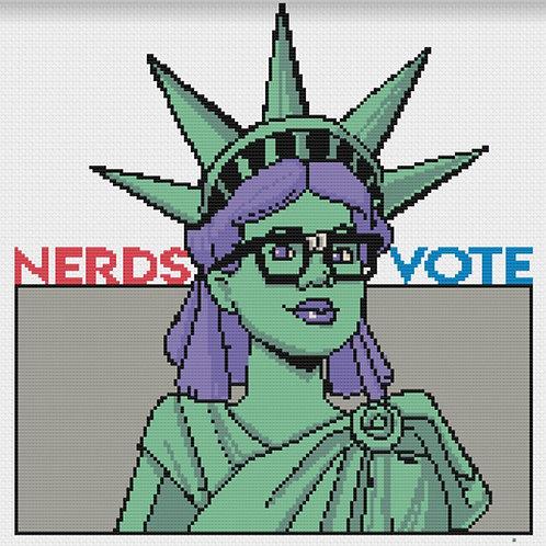 NerdsVote Lady Liberty cross stitch map