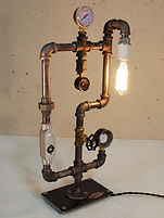 Steam Punk Table and Floor Lamps, some with USB chargers built in.