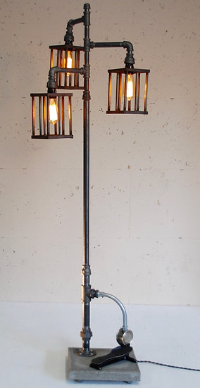 Vintage Steel Lamp with Antique Foot Pedal Switch