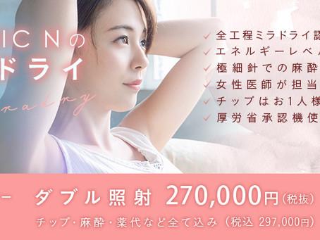 ミラドライダブル照射特別モニター CLINIC N東京銀座 ワキガ多汗症治療