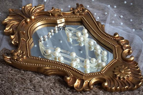 Vintage Designer Organza & Pearl Necklace