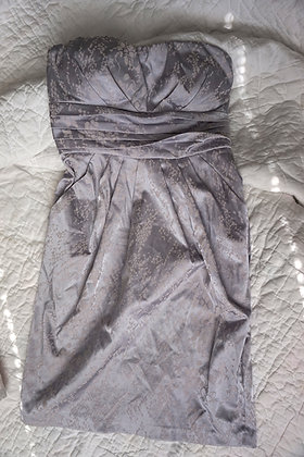 Strapless Silver Cocktail Dress (small)