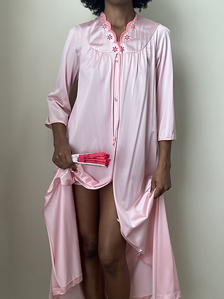 Aurora Pink Satin Night Robe (s/m)