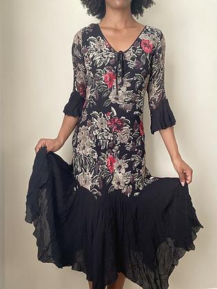 Black Cottage Floral Dress (small)