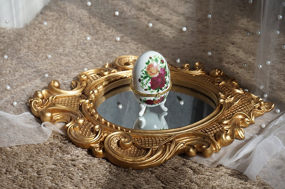Vintage Ceramic Jewelry Trinket Egg