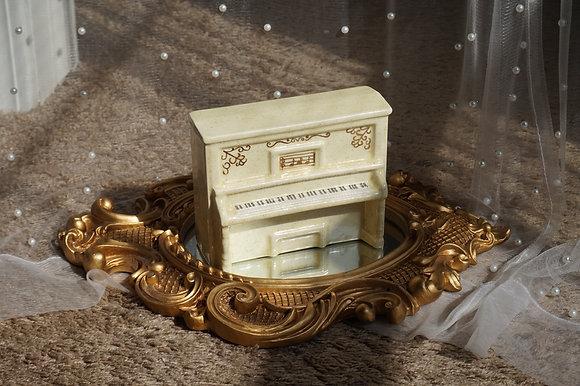 1980s Handmade Yellow Musical Ceramic Piano