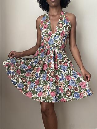 Vintage 1960s Garden Halter Dress (small)