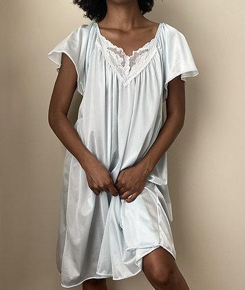 Ella Soft Blue Short Sleeve Chemise (m/l)