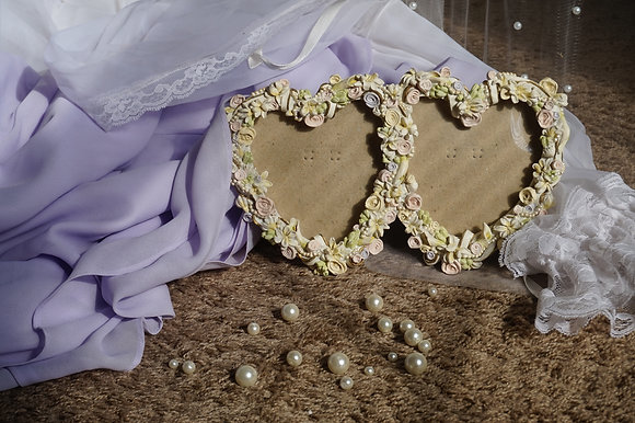 Roses & Pearls Double Heart Frame