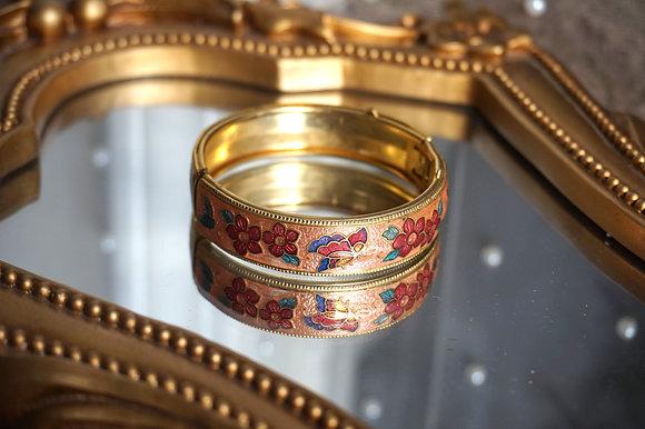 Peach Cottage Floral Bracelet