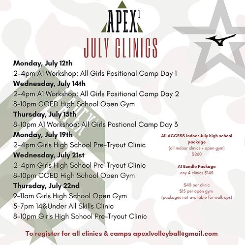 ALL Access Indoor Girls July High School  Clinics