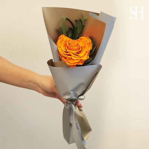 心心玫瑰保鮮花 (橙黃色)
