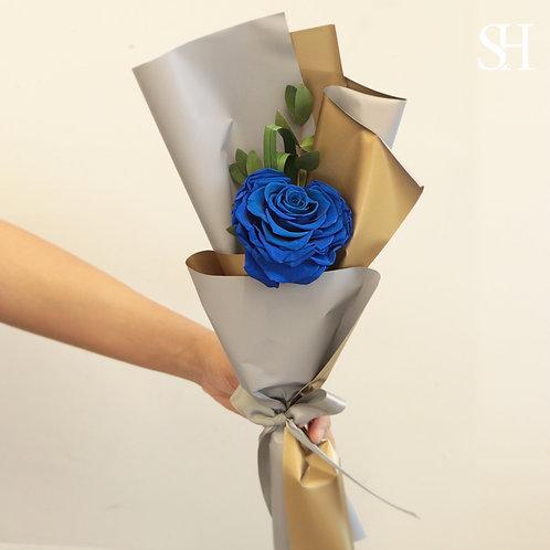 心心玫瑰保鮮花 (藍色)