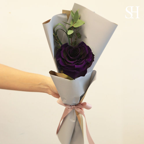 心心玫瑰保鮮花 (深紫色)