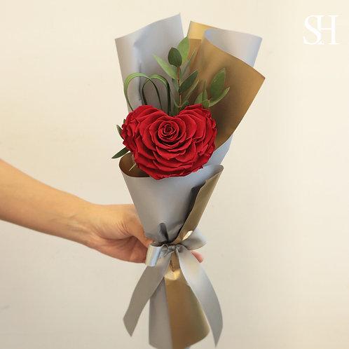 心心玫瑰保鮮花 (鮮紅色)